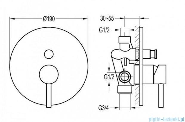 Omnires Y bateria natryskowa-wannowa podtynkowa z przełącznikiem chrom Y1235