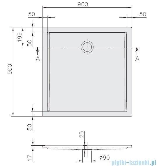 Villeroy&Boch Futurion Flat Brodzik Kwadratowy 90x90   UDQ0900FFL1V-01