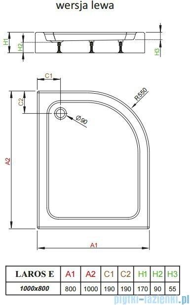 Radaway Laros E Brodzik asymetryczny 100x80x17cm lewy SLE81017-01L