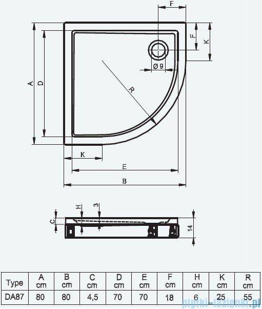 Riho Brodzik półokrągły 279 80x80x14 DA87 + nóżki + panel