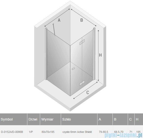 New Trendy New Soleo 80x70x195 cm kabina prawa przejrzyste D-0152A/D-0086B