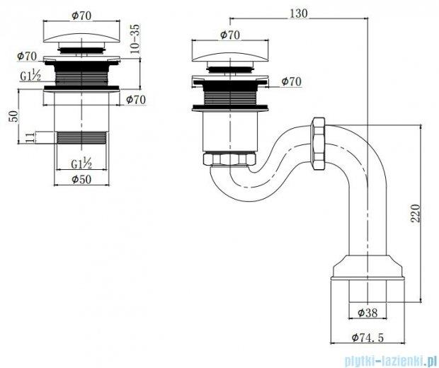 Omnires W10/BR syfon do wanien retro brąz antyczny W10/BR