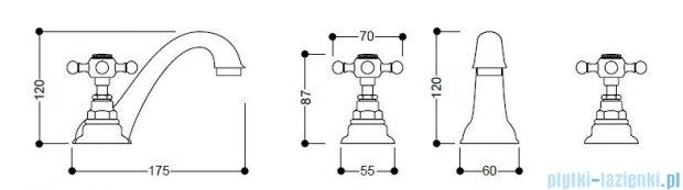 Kerasan Bateria umywalkowa 3-otworowa Retro chrom 739190