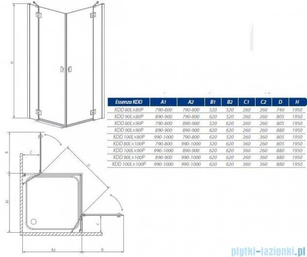 Radaway Essenza KDD kabina 100x100 szkło grafitowe 32872-01-05N