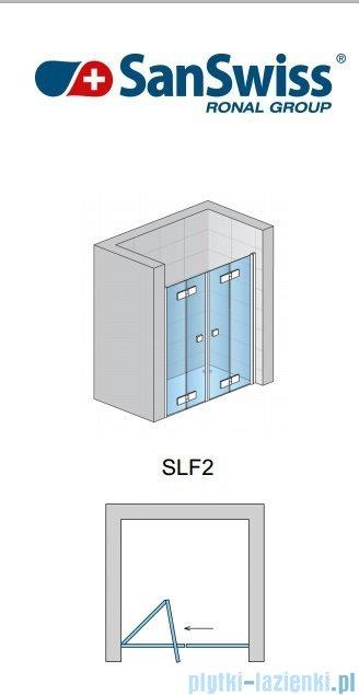 SanSwiss Swing Line F SLF2 Wejście narożne z drzwiami 70-120cm profil biały Prawe SLF2DSM10407