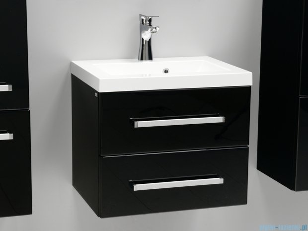 Antado Variete szafka z umywalką, wisząca z dwiema szufladami 50x39x40 czarny połysk FM-C-442/5/2-9017 + UMMC-500X390
