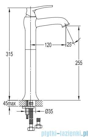 Omnires Art Deco bateria umywalkowa wysoka brąz antyczny AD5112/1