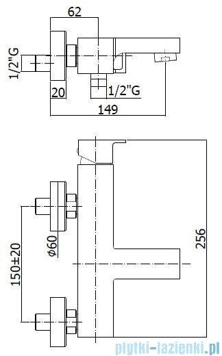 Paffoni  Bateria wannowa z zestawem natryskowym chrom Effe EF023CR