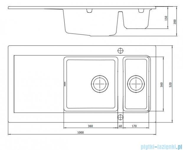 Deante Modern Zlewozmywak 1,5-komorowy z ociekaczem, kolor grafitowy metalik ZQM G513