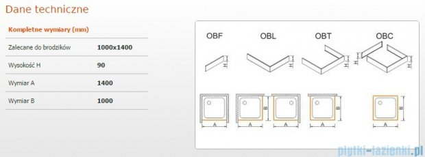 Sanplast Obudowa brodzika OBL 100x140x9 cm 625-400-1670-01-000