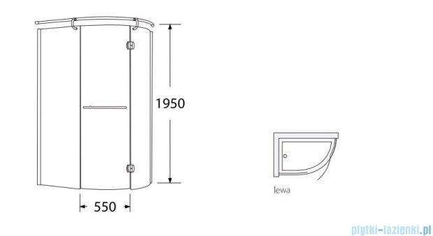 Sea Horse Sigma kabina  Klio lewa 120x85 szkło: brązowe BK261BL + Brodzik prysznicowy 120 x 85  BKB261L