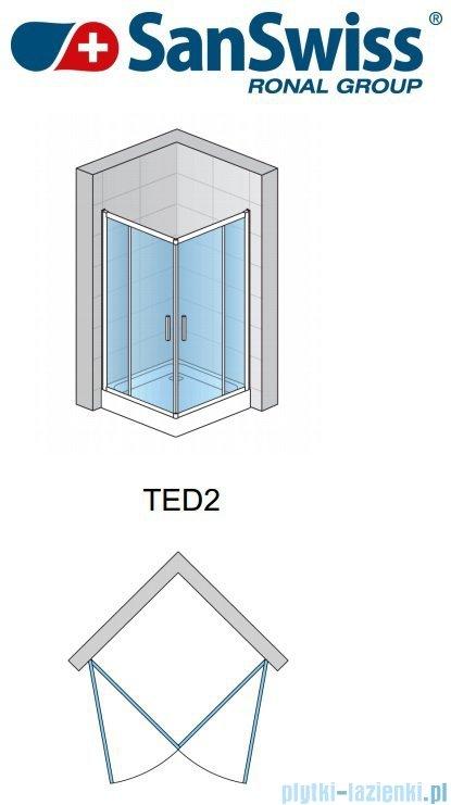 SanSwiss Top-Line Ted2 Wejście narożne 75cm profil biały Prawe TED2D07500407