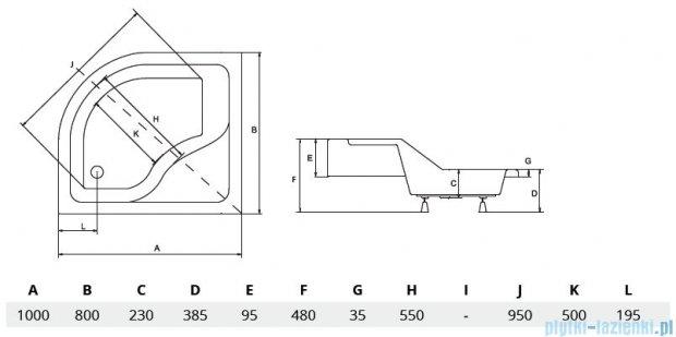 Piramida Maxi Brodzik 100x80cm asymetryczny z siedziskiem prawy
