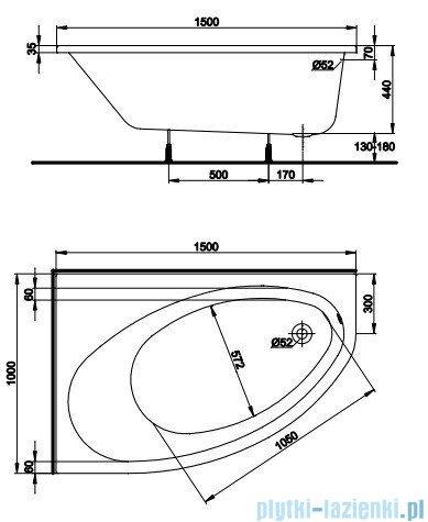 Koło Elipso Wanna asymetryczna 150x100cm Lewa XWA0851