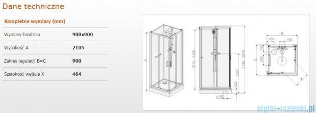 Sanplast Kabina czterościenna kompletna kpl-KCKN/CLII-90 90x90x210 cm przejrzysta 602-011-0030-01-4B1