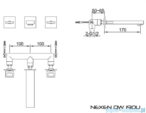Kohlman Nexen 3-częściowa podtynkowa bateria umywalkowa QW190U