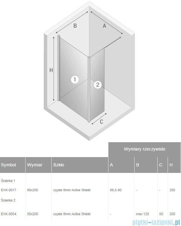 New Trendy New Modus kabina Walk-In 90x50x200 cm przejrzyste EXK-0017/EXK-0054