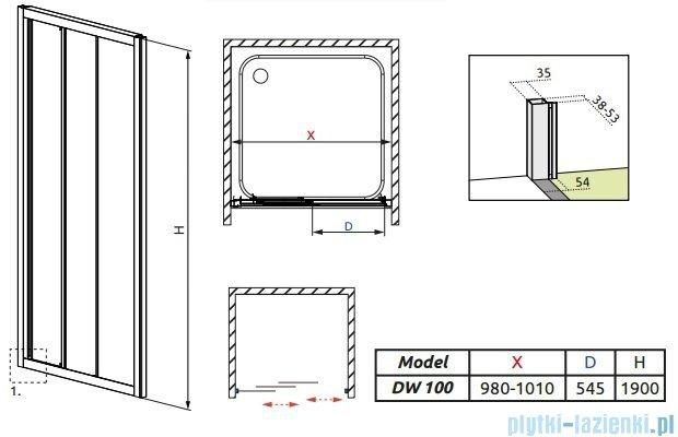 Radaway Treviso DW Drzwi wnękowe 100 szkło przejrzyste 32323-01-01N