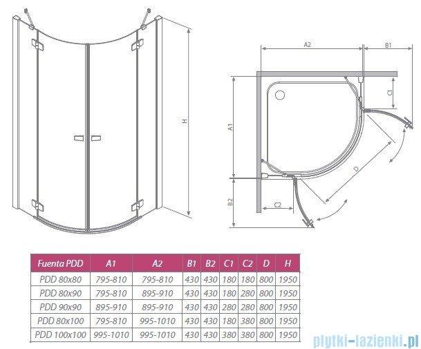Fuenta PDD Radaway Kabina prysznicowa 80x80 szkło grafitowe 381002-05N