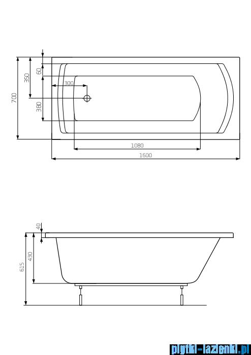 Roca Linea wanna 160x70cm z hydromasażem Effects Gold Opcja A24T024000