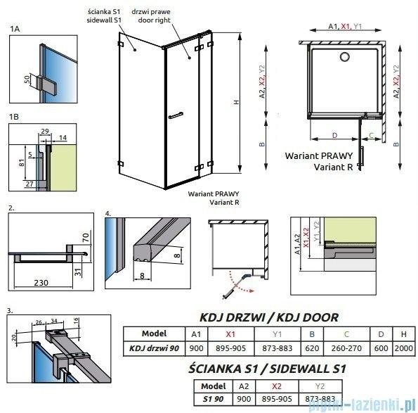 Radaway Euphoria KDJ Kabina prysznicowa 90x90 prawa szkło przejrzyste + brodzik Delos C + syfon 383044-01R/383050-01/SDC0909-01