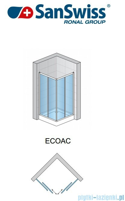 SanSwiss Eco-Line Wejście narożne Eco 100cm profil biały szkło przejrzyste Prawe ECOD10000407