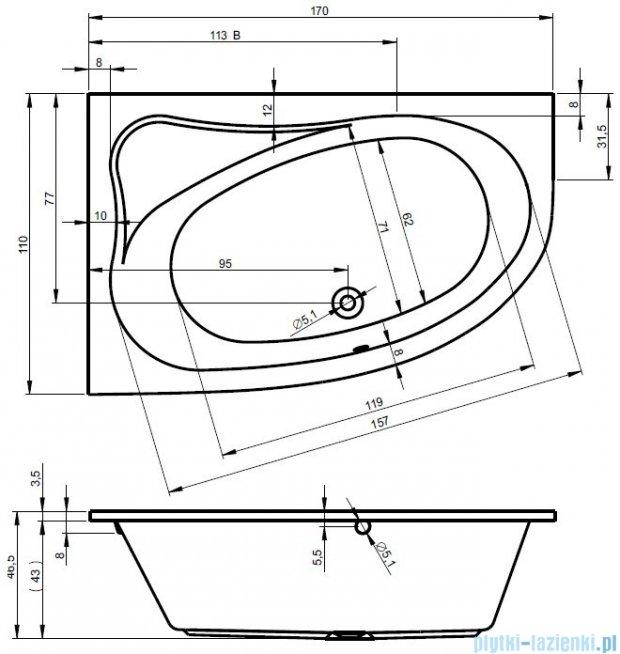 Riho Lyra wanna asymetryczna prawa 170x110 z hydromasażem TOP Hydro 6+4+2 BA63T2