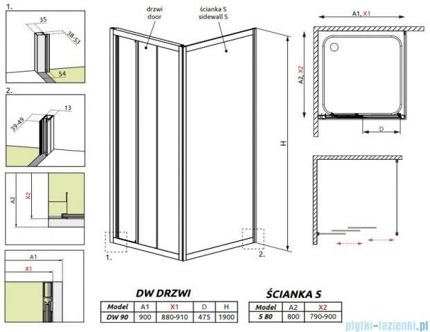 Radaway Treviso DW+S kabina 90x80 szkło fabric 32303-01-06N/32413-01-06N
