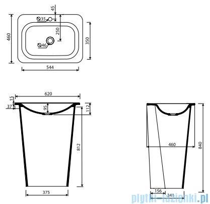 Marmorin Tytan umywalka stojąca przyścienna bez otworu na baterie biała 650062020010