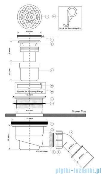 McAlpine Syfon brodzikowy 90'' pokrywa kolorze satyna HC27-SCBR