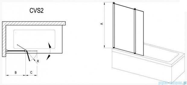 Ravak Chrome Parawan CVS2-100 L biały+transparent, lewy 7QLA0100Z1