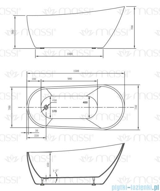 Massi Bellis 150 wanna wolnostojąca 150x70 cm biała MSWA-6522