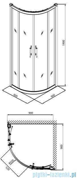 Koło Geo 6 kabina 90cm półokrągła część 2/2 GKPG90205003B