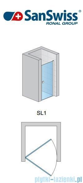 SanSwiss Swing Line SL1 Drzwi jednoczęściowe 75cm profil biały SL107500407