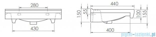 Cerastyle Riva B umywalka 55x44cm ścienna / meblowa 063500-u