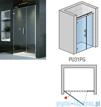 SanSwiss PUR PU31P drzwi z profilem lewe 100x200cm efekt lustrzany PU31PG1001053