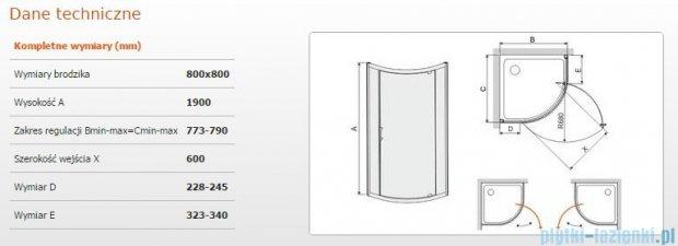 Sanplast kabina półokrągła narożna KP1DJ/TX5-80 szkło przezroczyste 600-271-0400-38-401