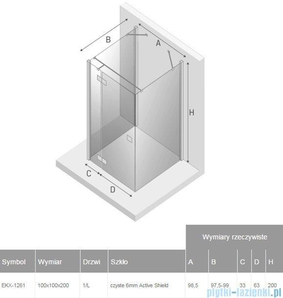 New Trendy Reflexa 100x100x200 cm kabina trójścienna lewa przejrzyste EXK-1261