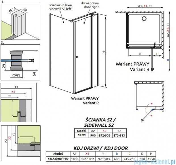 Radaway Eos II KDJ kabina prysznicowa 100x90 prawa szkło przejrzyste + brodzik Argos D + syfon 3799422-01R/3799431-01L/4AD910-01