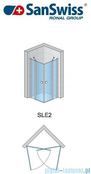 SanSwiss Swing Line SLE2 Wejście narożne 75cm profil połysk Lewe SLE2G07505007