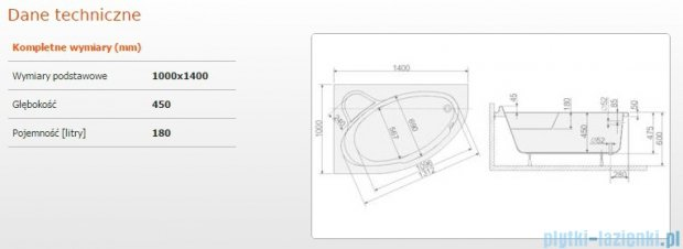 Sanplast Comfort Wanna asymetryczna lewa+stelaż WAL/CO 140x100+ST5 610-060-0190-01-000