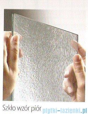 Novellini Parawan nawannowy AURORA 9 138x138cm profil biały szkło wzór piór AURORA93V-3A