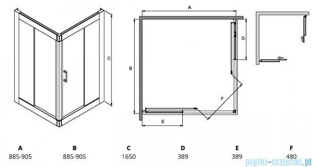 Besco Modern kabina kwadratowa 90x90x165cm mrożone MK-90-165-M