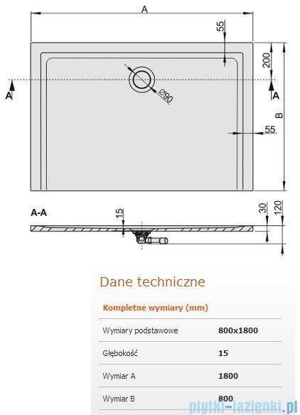 Sanplast Brodzik prostokątny Space Mineral 180x80x1,5cm + syfon 645-290-0410-01-000