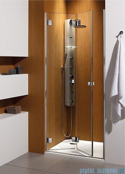 Radaway Carena DWB Drzwi prysznicowe 80 lewe szkło przejrzyste + brodzik Delos C + Syfon 34512-01-01NL