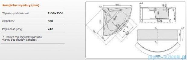 Sanplast Altus Wanna symetryczna+stelaż+obudowa WS-kpl-ALT/EX 155x155+SP, 610-120-0970-01-000