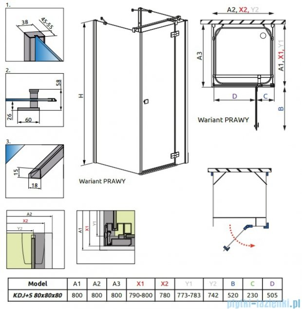 Radaway Kabina prysznicowa Almatea KDJ+S 80x80x80 prawa szkło przejrzyste 31532-01-01R