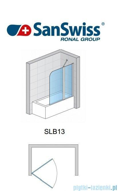 SanSwiss Swing Line SLB1 Parawan 1-częściowy 75cm profil biały Prawy SLB1D07500407