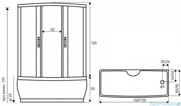 NOVOTERM kabina natryskowo-masażowa 140x85 MAXI PLUS 140