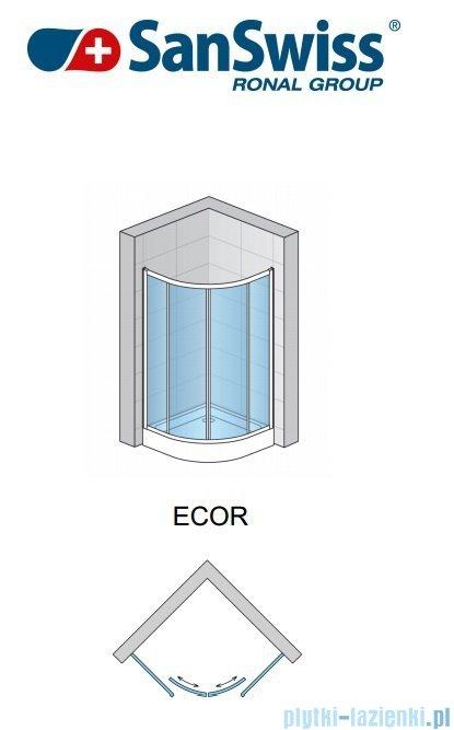 SanSwiss Eco-Line Kabina półokrągła Ecor 100cm profil połysk szkło przejrzyste ECOR551005007